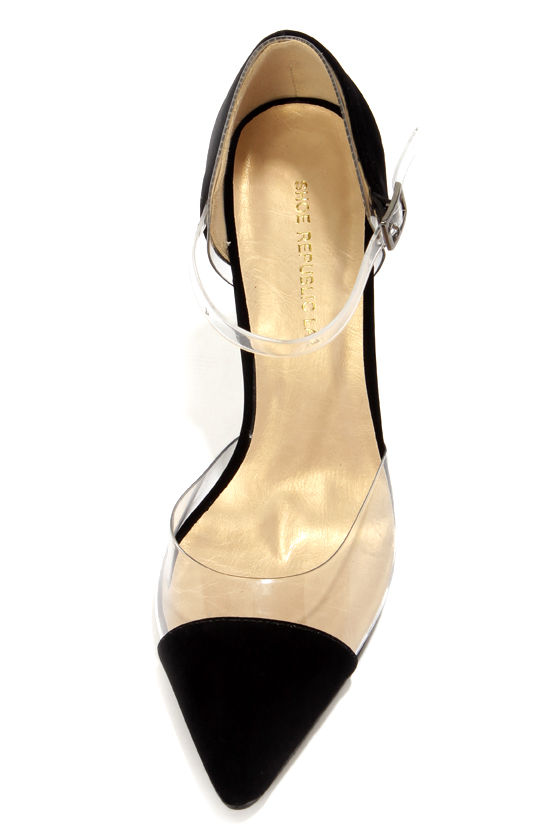 Shoe Republic LA Blandon Black and Lucite D'Orsay Pointed Pumps at Lulus.com!