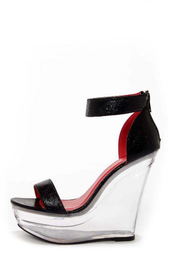 2936374fe7c Shoe Republic LA Dawn Black and Clear Platform Wedges -  52.00
