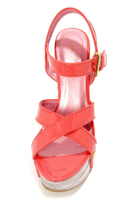 Shoe Republic LA Elma Coral and Clear Strappy Platform Wedges at Lulus.com!