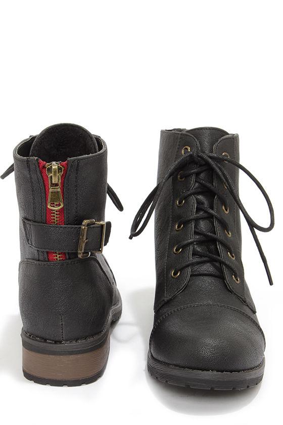 ba2d0598b29 Cute Black Boots - Lace-Up Boots - Ankle Boots -  39.00
