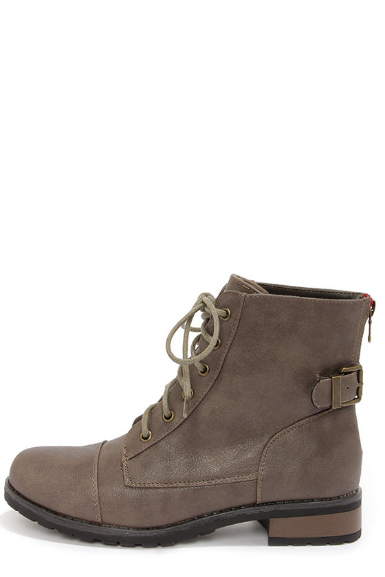 Bamboo Battle 23 Taupe Lace-Up Ankle Boots at Lulus.com!