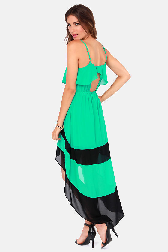 Cute Green Dress - Color Block Dress - High-Low Dress - $49.00
