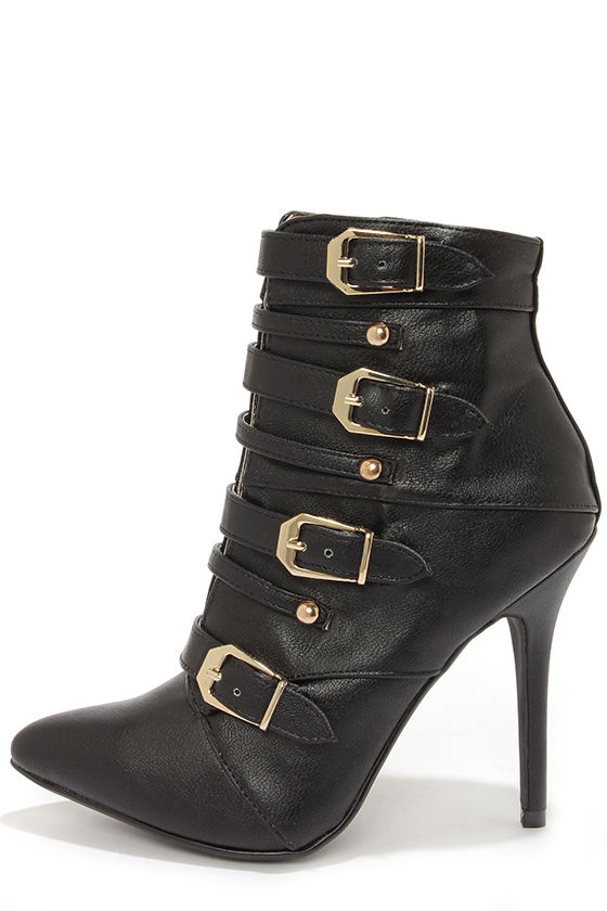 Dollhouse Heat Black Buckled Pointed Toe Booties at Lulus.com!