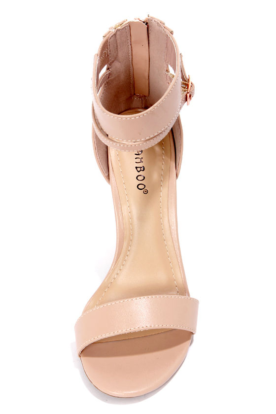 Bamboo Senza 01 Nude Single Strap High Heels at Lulus.com!
