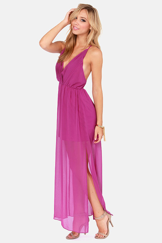 Crossing Pathways Magenta Maxi Dress at Lulus.com!
