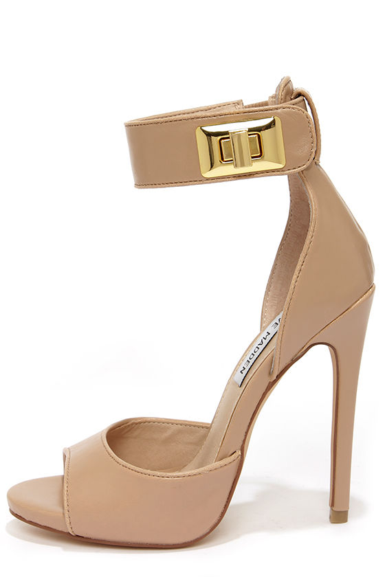 Sexy Nude Heels - Ankle Strap Heels - $129.00