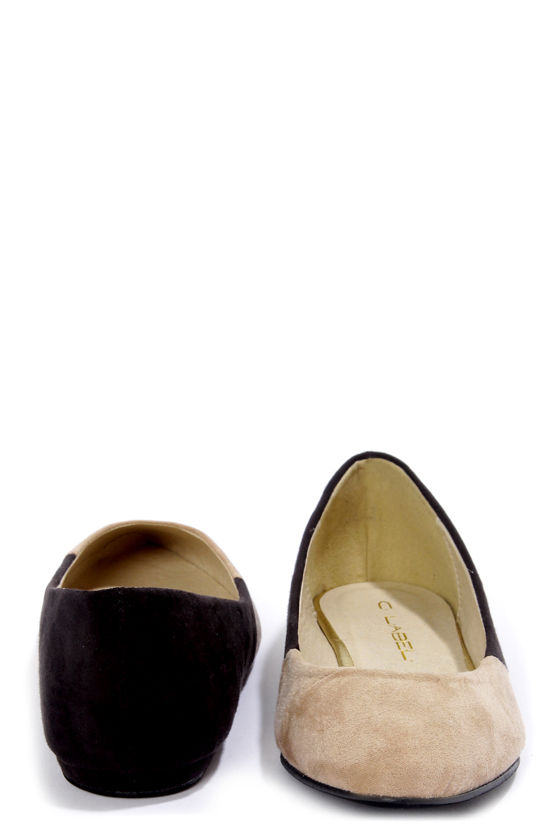 C Label Claudia 7 Taupe and Black Pointed Flats at Lulus.com!