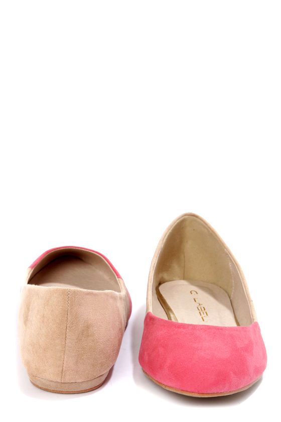 C Label Claudia 7 Pink and Beige Pointed Flats at Lulus.com!