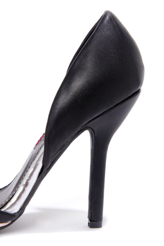 C Label Luxe 13 Black and Pink Striped Pointed Pumps at Lulus.com!