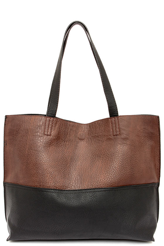 Vegan Leather Tote - Brown Tote - Black Tote - $49.00