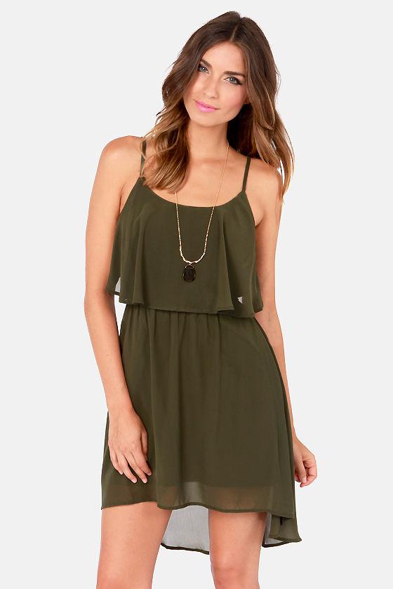 Cute Olive Green Dress - Backless Dress - Short Dress - $40.00