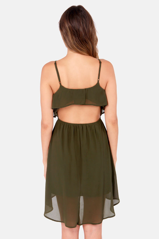 Behind Your Back Backless Olive Green Dress at Lulus.com!