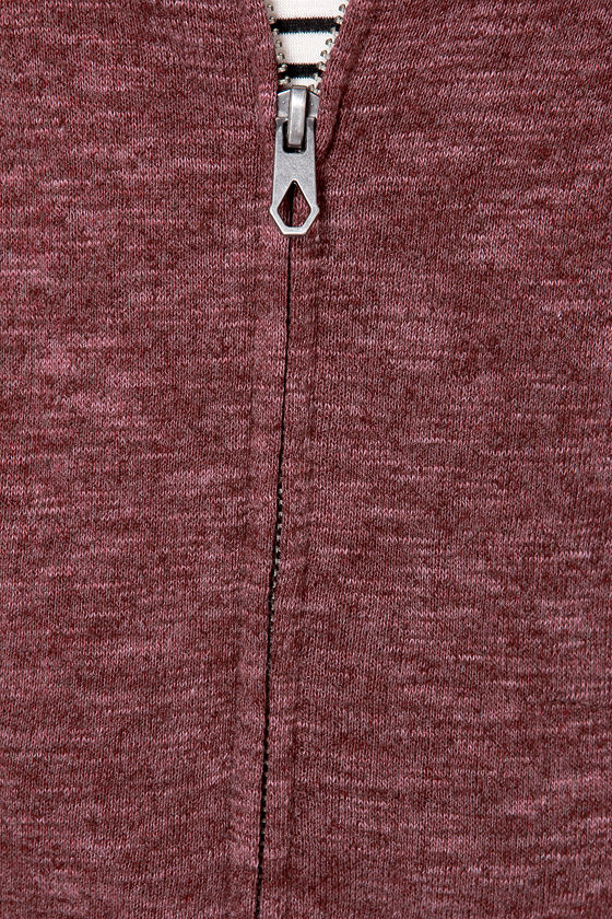 Volcom Lived In Long Zip Heather Burgundy Sweater at Lulus.com!