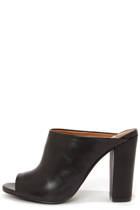 Cute Leather Mules Peep Toe Mules Black Mules 129 00