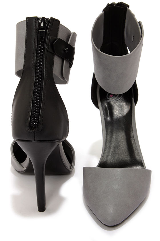 My Delicious Erna Grey and Black Ankle Cuff Heels at Lulus.com!