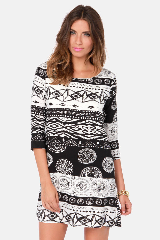 Cute Print Dress - Black Shift Dress - White Shift Dress - $48.00