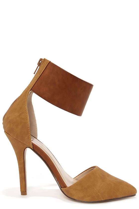 My Delicious Erna Tan Ankle Cuff Heels at Lulus.com!