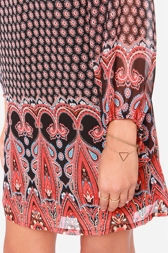 Be My Beau-hemian Black Print Dress at Lulus.com!