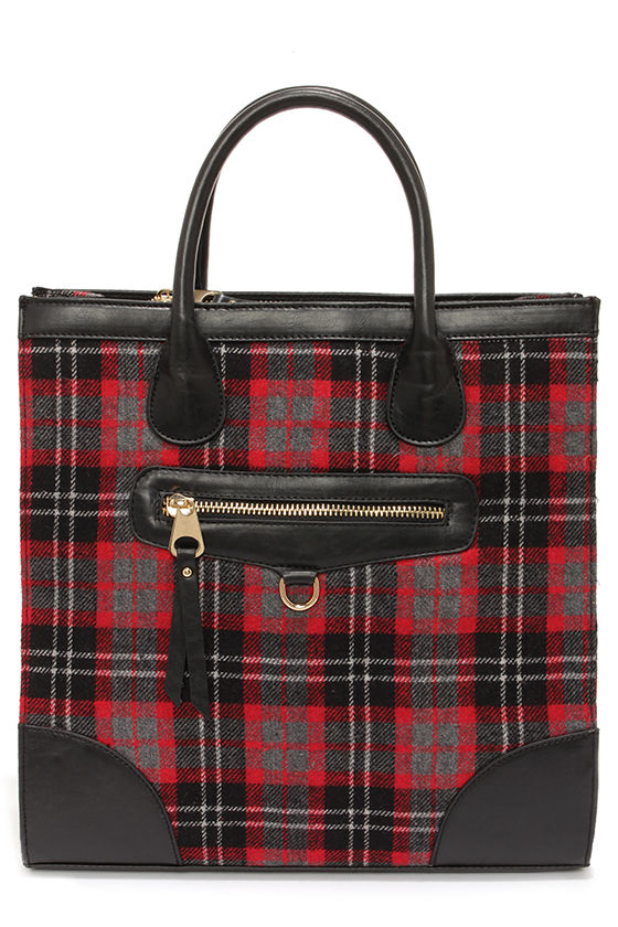 Highlands Black and Red Plaid Tote at Lulus.com!