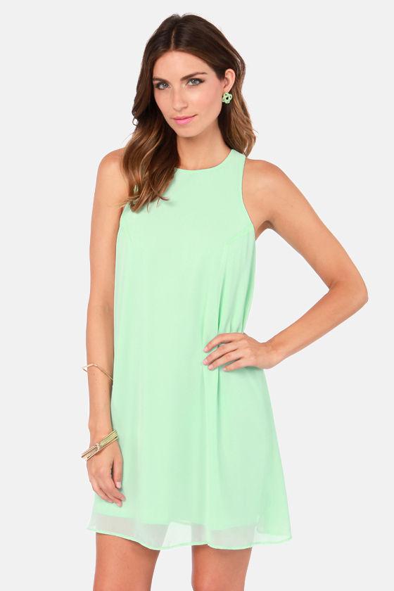 Cute Mint Dress - Chiffon Dress - Shift Dress - $37.00