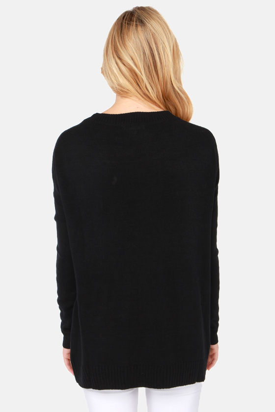 Ribbon Riot Black Bow Print Sweater at Lulus.com!