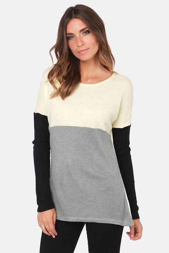Cool Color Block Sweater - Neutral Sweater - Knit Sweater - $31.00