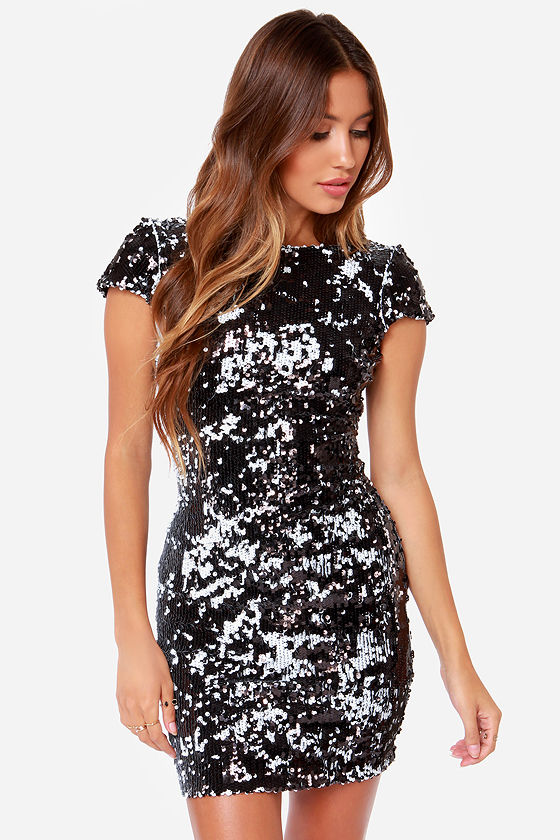 Dress the Population Tabitha Black Sequin Dress