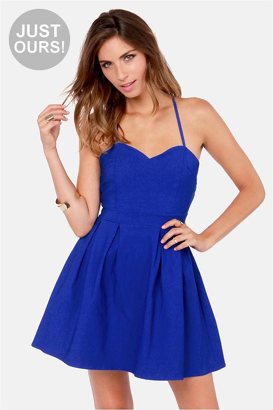 Cute Backless Dress - Royal Blue Dress - $47.00