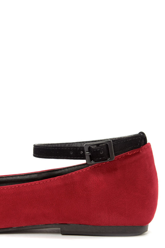 Dollhouse Nifty Crimson Cross-Front Ballet Flats at Lulus.com!