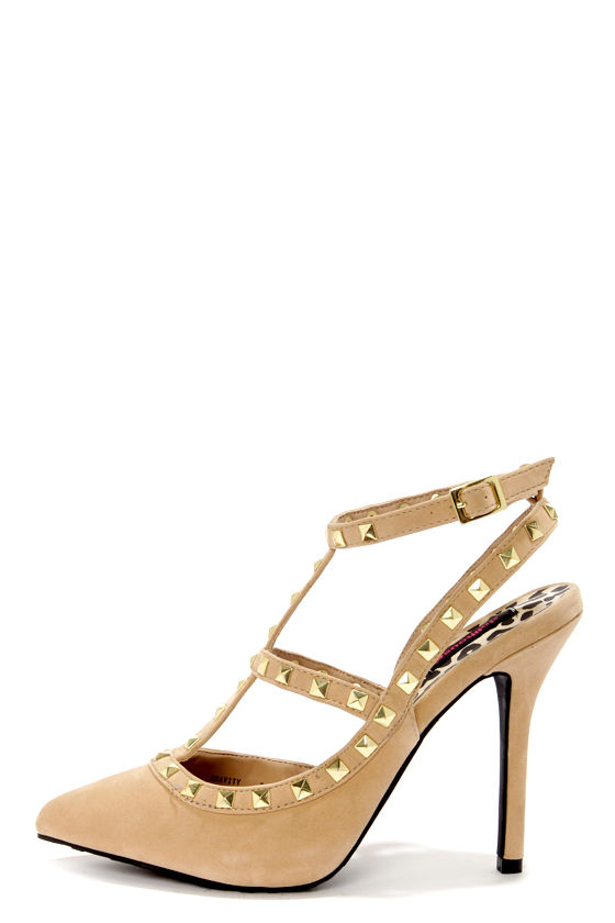 Dollhouse Gravity Nude Studded T-Strap Pointed Heels at Lulus.com!