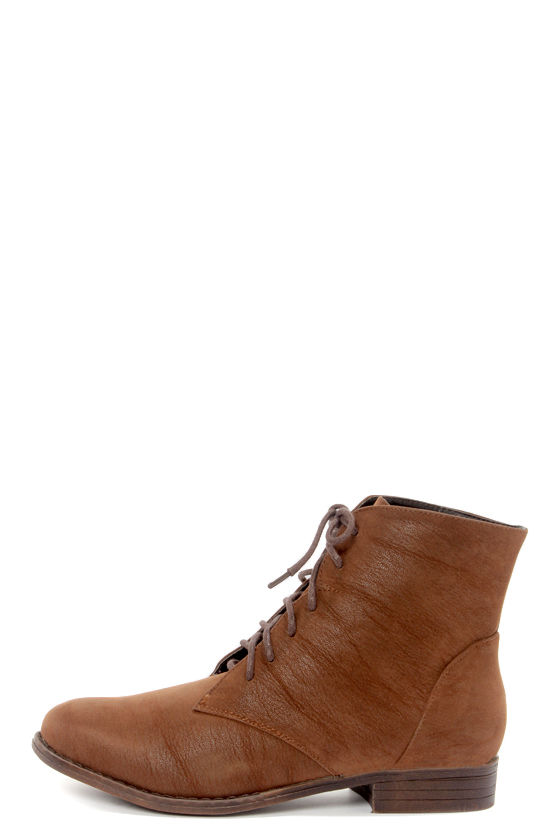 65214f9a0ed6 Dollhouse Dandy Chestnut Brown Suede Lace-Up Ankle Boots -  39.00