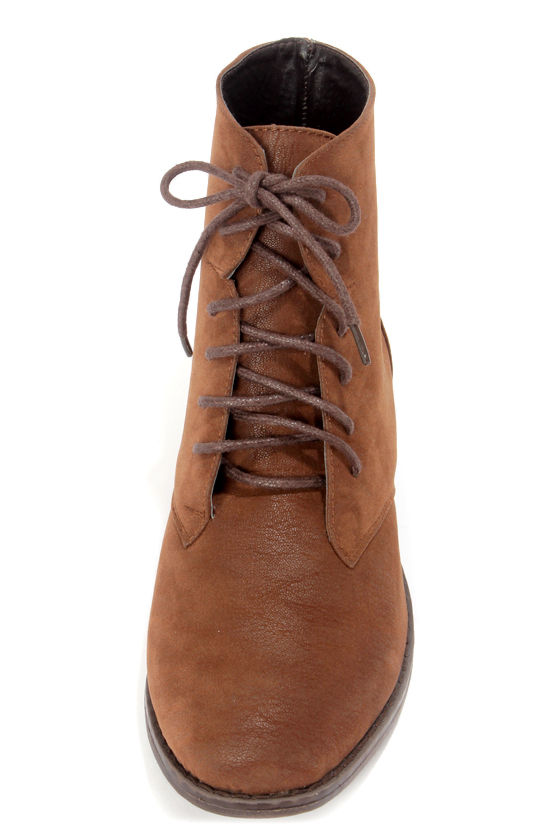 Dollhouse Dandy Chestnut Brown Suede Lace-Up Ankle Boots at Lulus.com!