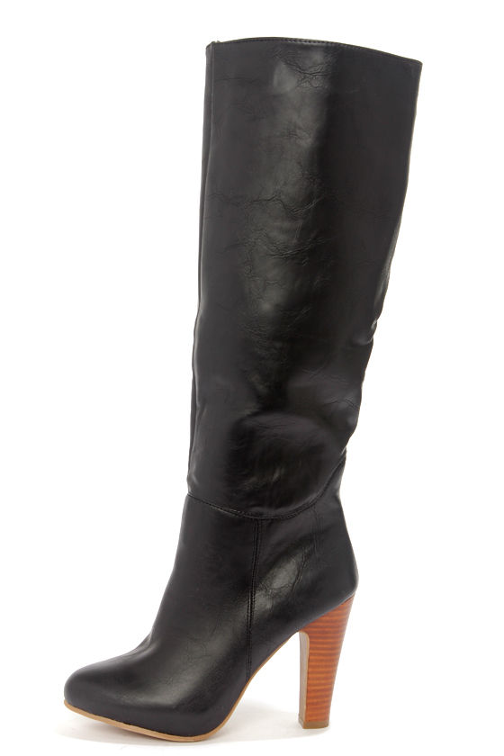 dollhouse embrace black knee high heel boots 56 00