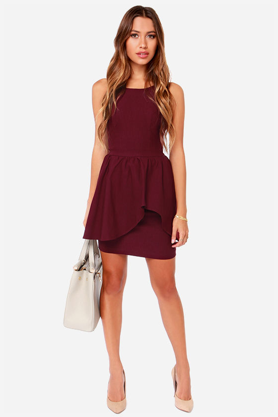 09caef253a03 Pretty Burgundy Dress - Cocktail Dress -  42.00