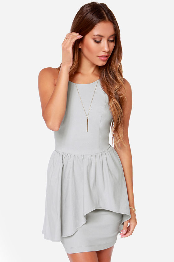 Pretty Light Grey Dress - Cocktail Dress - $42.00
