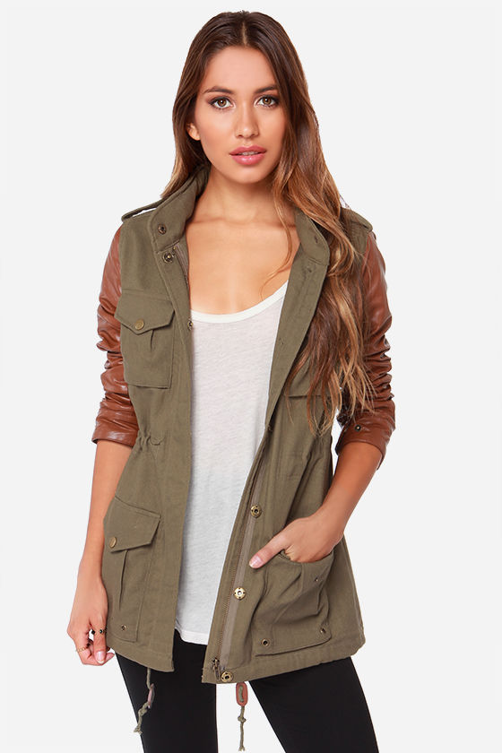 Lucca Couture Jacket - Olive Green Jacket - Military Jacket - $85.00