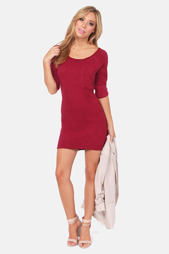 Others Follow Lyric Wine Red Sweater Dress at Lulus.com!