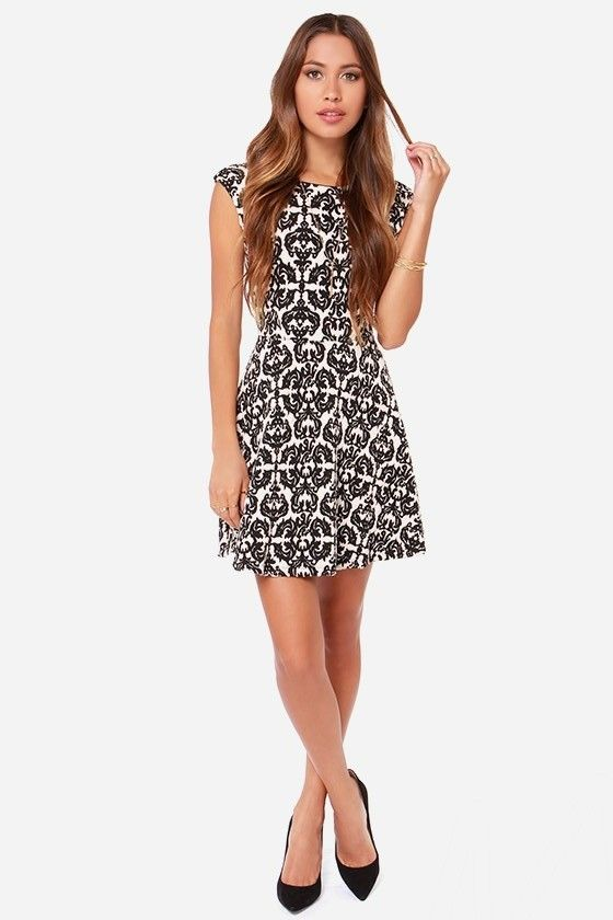 Jacquard-ly Working Black and Cream Dress at Lulus.com!