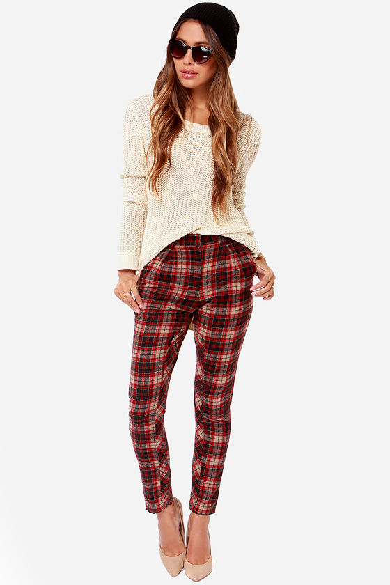 Perfect Lucca Couture Plaid Pants - Red Plaid Pants - $79.00 WY76