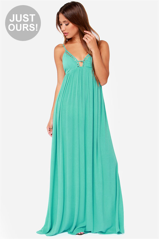 2ef0f6044844b Pretty Turquoise Dress - Maxi Dress - Sleeveless Dress -  66.00