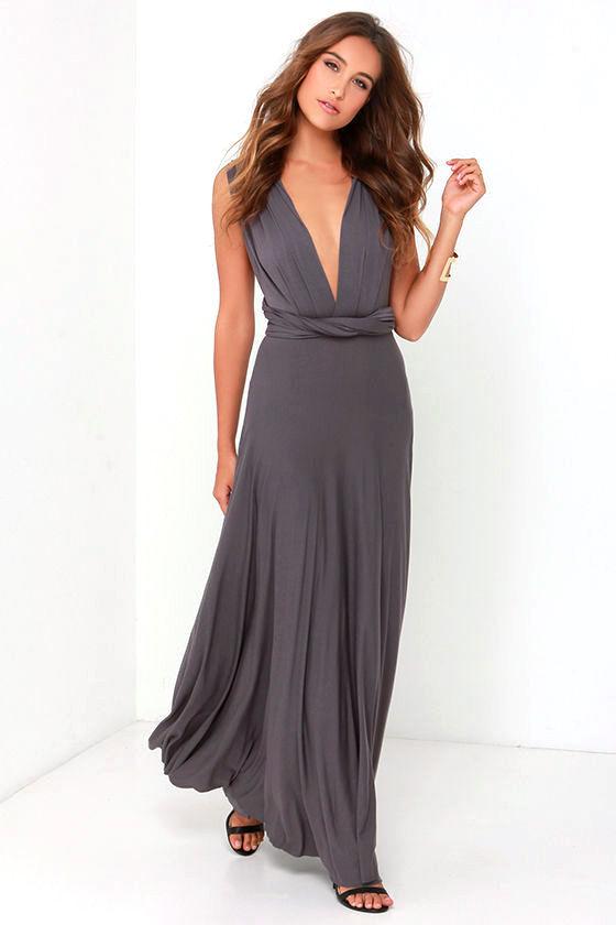 Awesome Dark Grey Dress Maxi Dress Wrap Dress 78 00