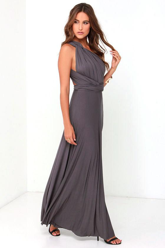 Awesome Dark Grey Dress - Maxi Dress - Wrap Dress - $78.00