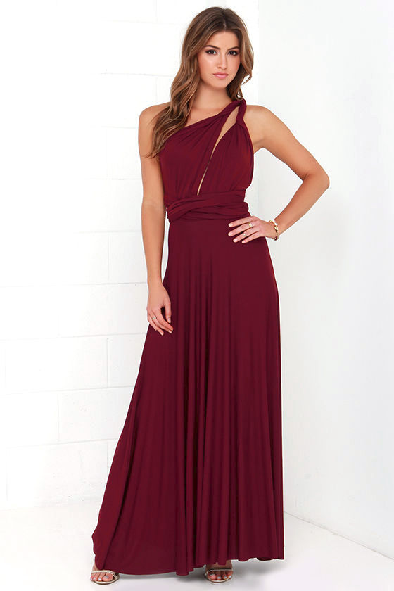 LULUS Exclusive Tricks of the Trade Burgundy Maxi Dress 2