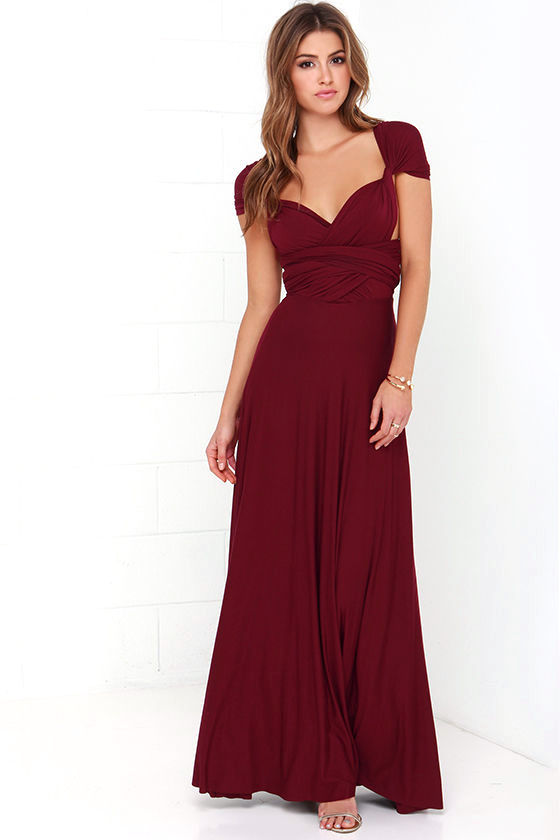 LULUS Exclusive Tricks of the Trade Burgundy Maxi Dress 3