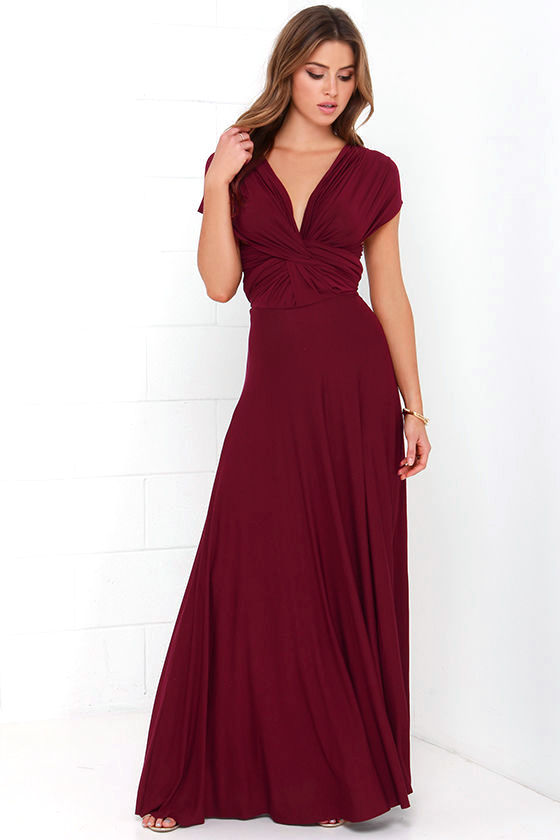 LULUS Exclusive Tricks of the Trade Burgundy Maxi Dress 4