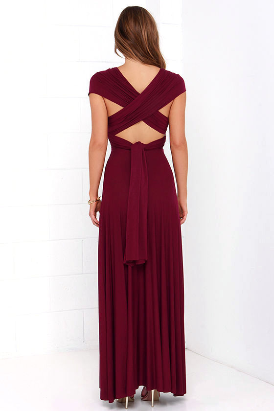 LULUS Exclusive Tricks of the Trade Burgundy Maxi Dress 5