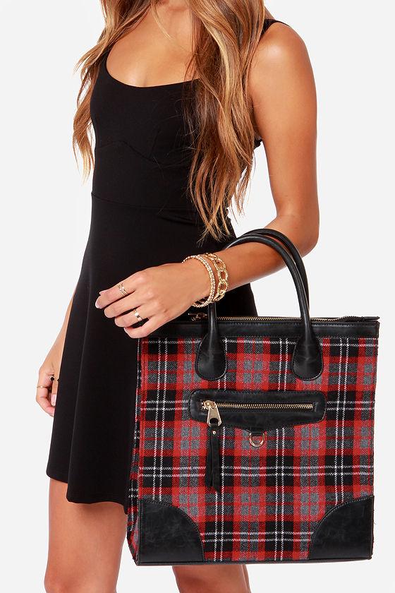 Red Plaid Tote Plaid Handbag Plaid Purse 44 00