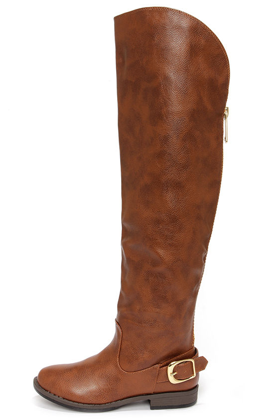 Brown Over The Knee Flat Boots
