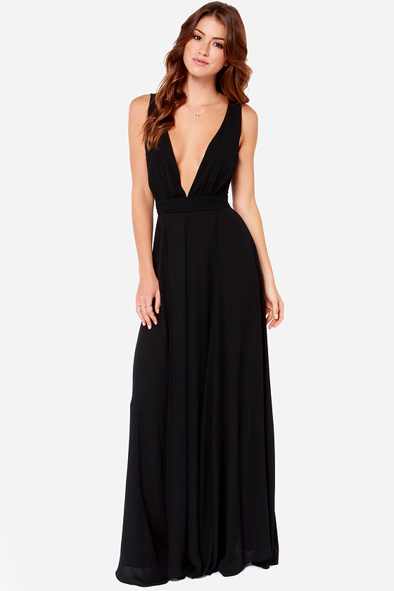 Beautiful Black Dress - Maxi Dress - Black Gown - $108.00