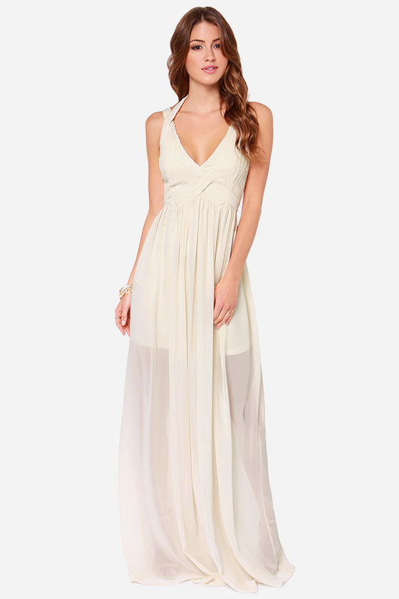Cream Maxi Dress - Pleated Maxi Dress - Cream Dress - $77.00
